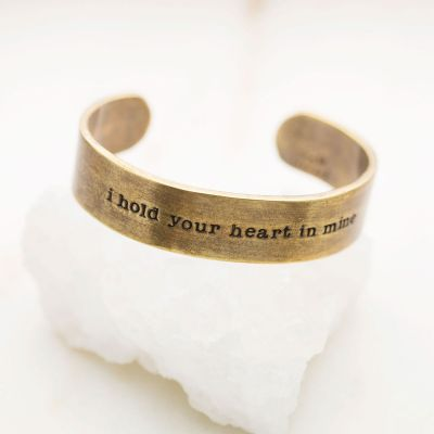 Handcrafted artisan bronze-plated pewter I hold your heart cuff bracelet