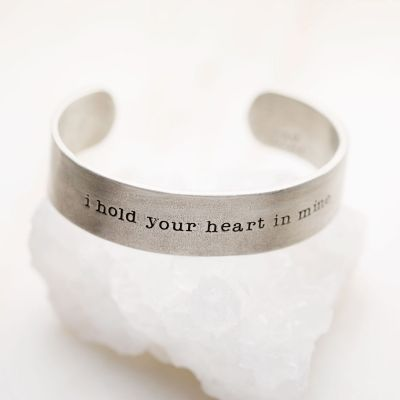 Handcrafted artisan pewter I hold your heart cuff bracelet