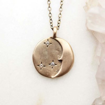 I Love You Moon And Stars Necklace {Bronze}