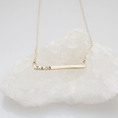 Personalized Cross Bar Necklace {14K Gold}