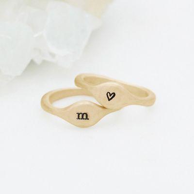 Initial Stacking Ring {14K Gold}