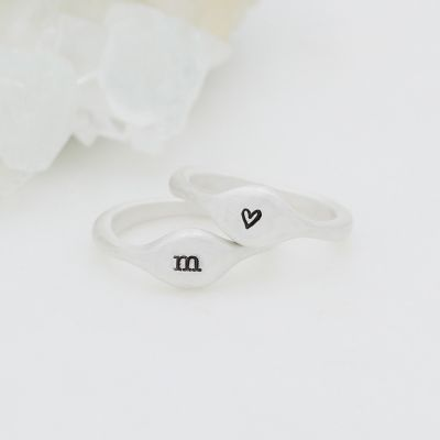 Initial stacking ring handcrafted and cast in sterling silver then hand-stamped with an initial