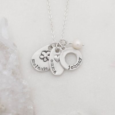 Sterling silver jumble of charms necklace with handcrafted, personalized sterling silver charms