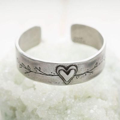 Let love grow pewter cuff