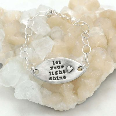 Handcrafted let your light shine pewter bracelet with a matte brushed finish