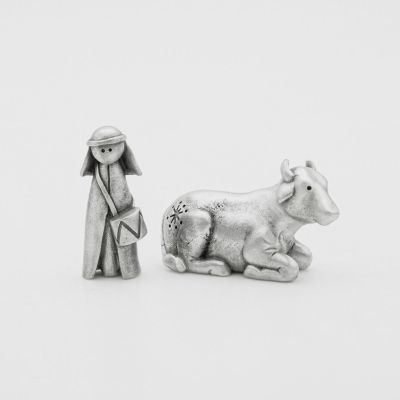 handcrafted little drummer boy and ox pewter figurine set