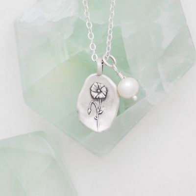 August Birth Flower Necklace {Sterling Silver}