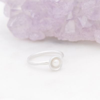 Nesting Freshwater Large Pearl Ring {Sterling Silver}