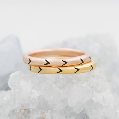 Forward Arrows Stacking Ring {Yellow Gold Plated}