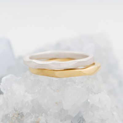 Geometric stacking ring handcrafted in sterling silver and stackable with other mix and match stacking rings