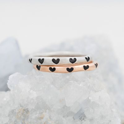 Tiny Hearts Stacking Ring {Sterling Silver}
