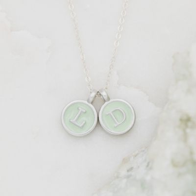 Typewriter Initial Necklace {Pewter}