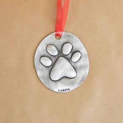 Furry Footprint Ornament {Pewter}