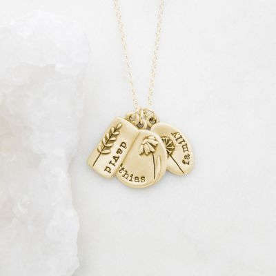 Personalized 10k yellow gold be you wildflowers necklace with 3 gold charms