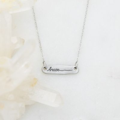 You Are Brave Bar Necklace {Pewter}
