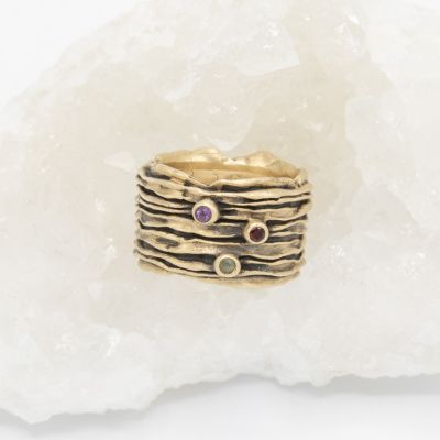 brave love birthstone ring handcrafted in 10k yellow gold customizable with up to five 2mm genuine birthstones