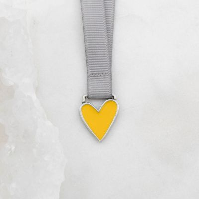 Brave Love® Yellow Heart Bookmark {Pewter}