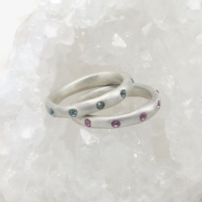 Birthstone Stacking Rings {Sterling Silver}