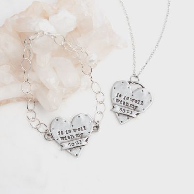 Well With My Soul Bracelet and Necklace Set {Pewter}