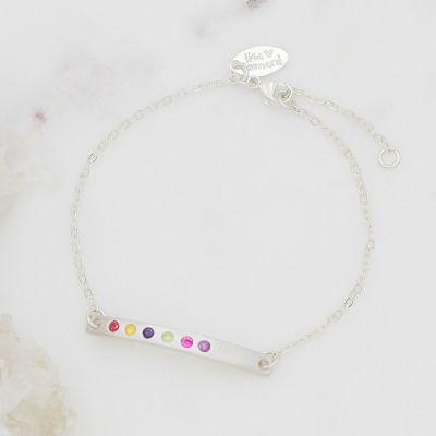 Cross bar birthstone bracelet sterling silver