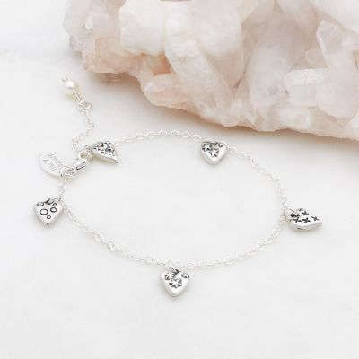 Light + Bright hearts bracelet sterling silver with handcrafted charms and freshwater pearl