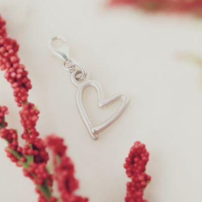 Open Heart Bracelet Charm {Sterling Silver}