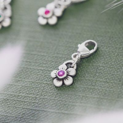 Birthstone Bloom Bracelet Charm {Sterling Silver}