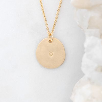 Small and Mighty Heart Disc Necklace {Gold Plated}