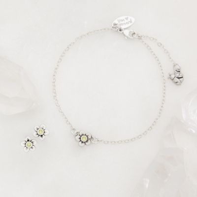 Birthstone Bloom Bracelet and Stud Earrings Gift Set {Sterling Silver}