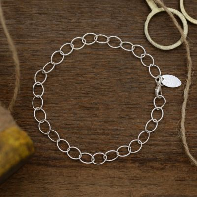 Large Round Link Bracelet Chain {Sterling Silver}