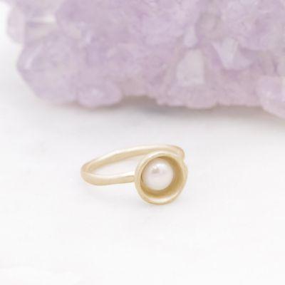 Nesting Freshwater Large Pearl Ring {14k Gold}