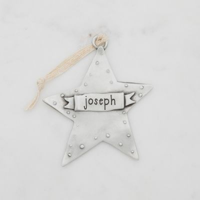 your spark ornament hand-molded and cast in fine pewter and personalized with a word, name or date