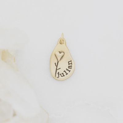 Heart with Flower Charm {10K Gold}