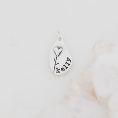 Heart with Flower Charm {Sterling Silver}