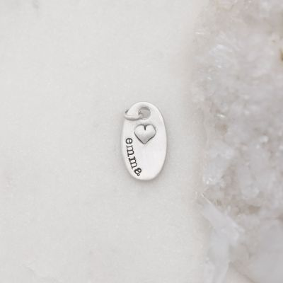 Tiny Oval With Heart Charm {Sterling Silver}