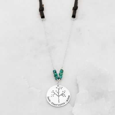 Limited Edition Family Tree necklace with leather