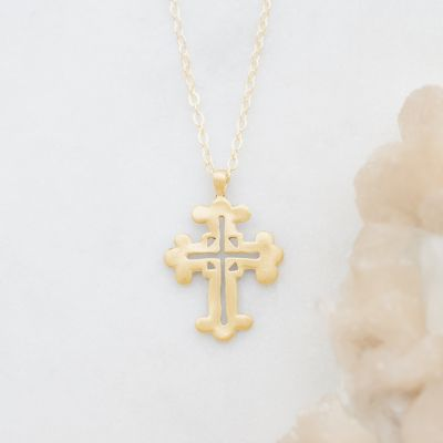 Work of Art Cross Necklace {14k Gold}