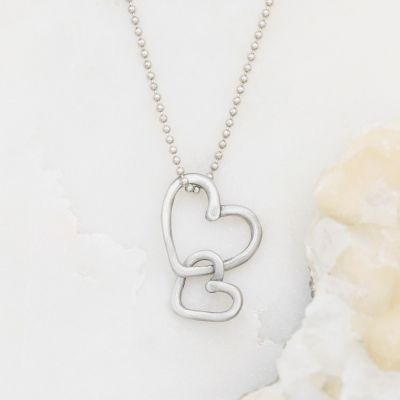 Connected Hearts Necklace {Pewter}
