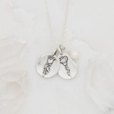 Birth Flower Necklace {Sterling Silver}