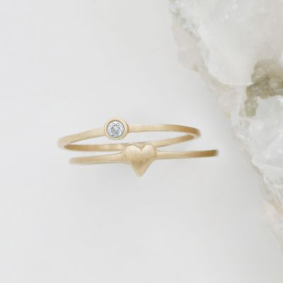 love and loss ring pair hand-molded and cast in 14k yellow gold including finespun birthstone ring and sweet love ring