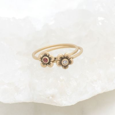Birthstone bloom ring  handcrafted in 10k yellow gold with an antiqued/satin finish set with a 2mm birthstone