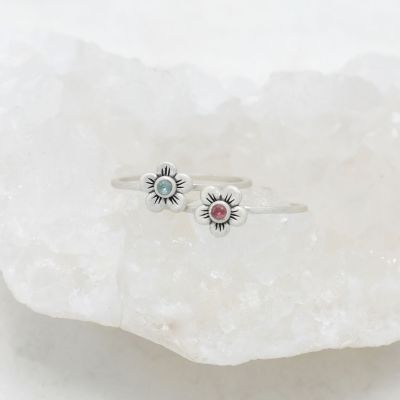 Birthstone Bloom Ring {Sterling Silver}