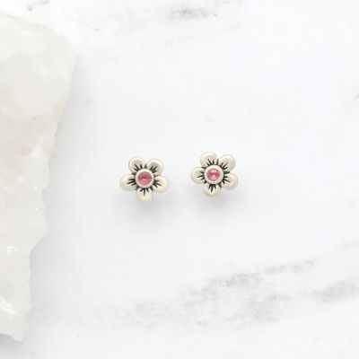 Birthstone Bloom Stud Earrings {Sterling Silver}