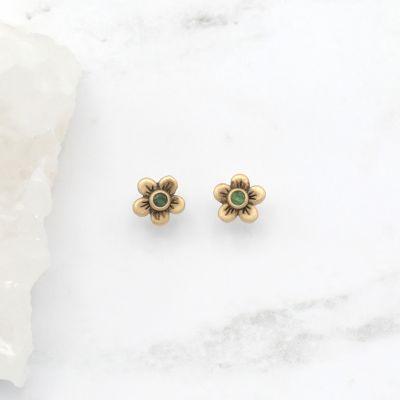 Birthstone Bloom Stud Earrings {10K Gold}