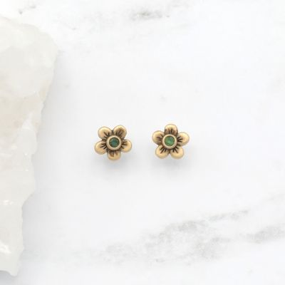 Birthstone Bloom Stud Earrings {14K Gold}