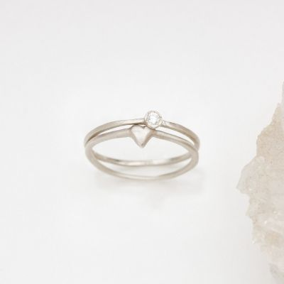 sterling silver love and loss ring pair including a finespun birthstone ring and a sweet love ring