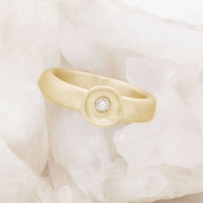 Love surrounds me ring hand-molded in 10k yellow gold set with a 3mm birthstone