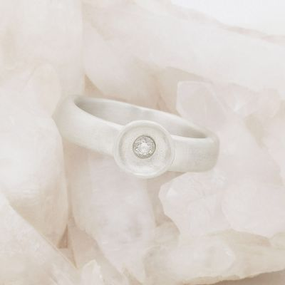 Love surrounds me ring hand-molded in 10k white gold set with a 3mm birthstone