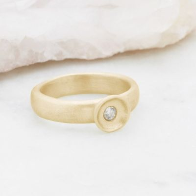 Love surrounds me ring hand-molded in 14k yellow gold set with a 3mm birthstone