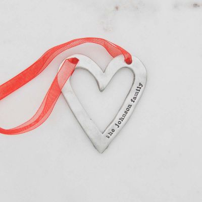 molded heart ornament handcrafted and cast in fine pewter personalized with a meaningful short phrase